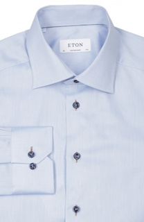 Хлопковая полуприталенная сорочка с воротником кент Eton