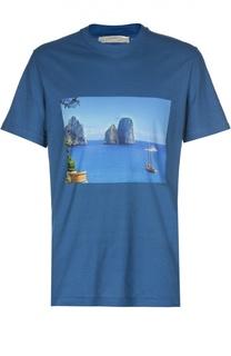 Хлопковая футболка с принтом Andrea Campagna