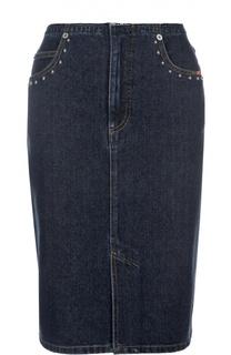 Джинсовая юбка-карандаш с разрезами и декоративной отделкой Sonia Rykiel