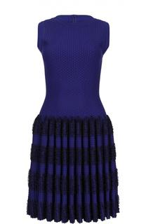 Мини-платье без рукавов с драпированной юбкой Alaia