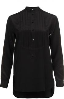 Шелковая блуза прямого кроя с плиссированной манишкой Polo Ralph Lauren