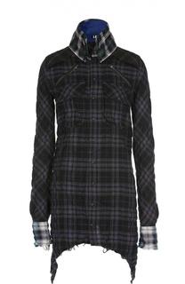 Блуза в клетку асимметричного кроя с накладными карманами L.G.B.