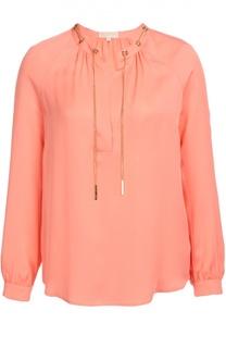 Шелковая блуза с декоративной отделкой Michael Michael Kors