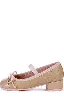 Кожаные туфли с декоративной прострочкой Pretty Ballerinas