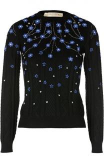 Пуловер фактурной вязки с контрастным принтом Valentino
