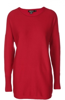 Удлиненный шелковый пуловер с круглым вырезом DKNY