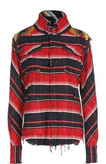 Блуза асимметричного кроя в клетку с накладными карманами L.G.B.