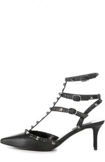 Кожаные туфли Rockstud Rolling Noir на шпильке Valentino