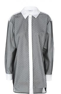 Удлиненная блуза с кружевной полупрозрачной отделкой DKNY