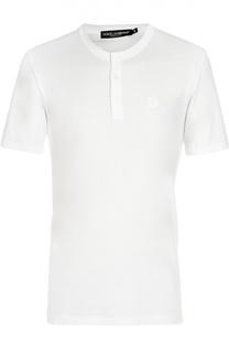 Хлопковая футболка с  вырезом henley Dolce & Gabbana