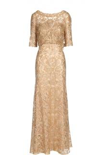 Кружевное приталенное платье в пол с удлиненным рукавом Tadashi Shoji