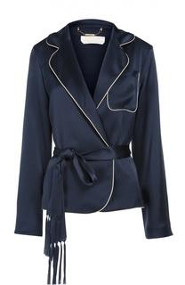 Шелковый жакет в пижамном стиле с контрастной отделкой и поясом Chloé