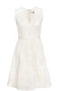 Приталенное мини-платье в полоску с V-образным вырезом Burberry