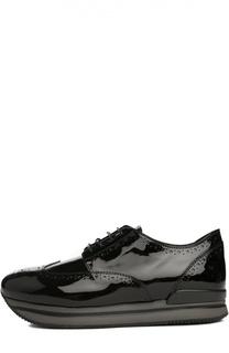 Лаковые кроссовки с перфорацией Hogan