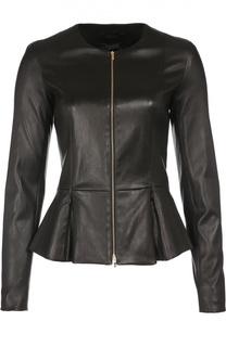 Приталенная кожаная куртка с баской The Row