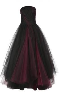 Многослойное платье-бюстье в пол Oscar de la Renta