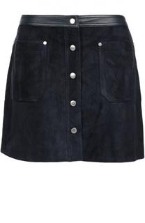 Замшевая мини-юбка с кожаной отделкой и накладными карманами Rag&Bone Rag&Bone