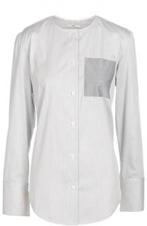 Блуза прямого кроя с разрезом на спине и накладным карманом Tome