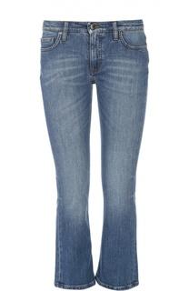 Укороченные расклешенные джинсы с потертостями Victoria by Victoria Beckham