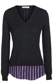 Приталенный пуловер с V-образным вырезом и контрастной шелковой вставкой Altuzarra
