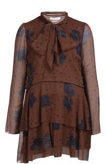 Шелковое мини-платье с воротником-аскот и контрастным принтом See by Chloé