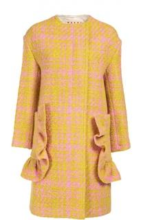 Пальто прямого кроя с декорированными карманами Marni