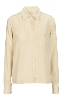 Шелковая блуза с бахромой и накладным карманом Dries Van Noten