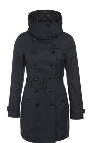 Утепленное двубортное пальто с поясом и капюшоном Burberry Brit