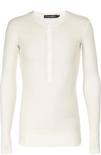 Хлопковая футболка хенли с длинными рукавами Dolce & Gabbana