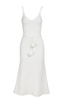 Шерстяное приталенное платье с поясом Victoria Beckham
