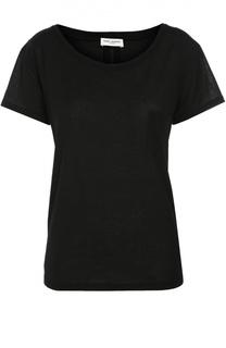 Хлопковая футболка прямого кроя с круглым вырезом Saint Laurent