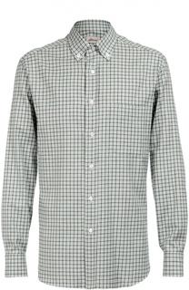 Хлопковая рубашка в клетку Brioni