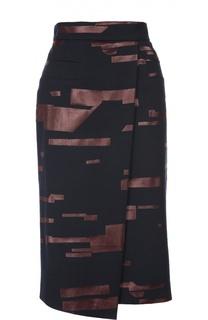 Асимметричная юбка-карандаш с контрастной отделкой Escada