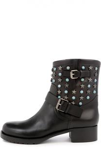 Кожаные ботинки Starstudded с ремешками Valentino