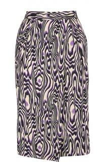 Прямая юбка с запахом и контрастным принтом Dries Van Noten