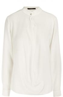 Шелковая блуза прямого кроя с воротником-стойкой Windsor