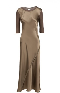 Шелковое платье-макси и трикотажными вставками и укороченным рукавом Escada Sport