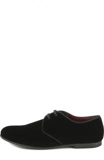 Бархатные туфли на шнуровке Dolce & Gabbana