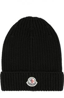 Шерстяная шапка ребристой вязки Moncler