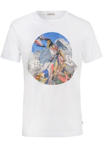 Хлопковая футболка с принтом Moncler