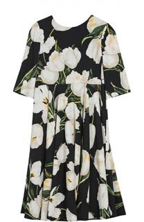 Платье из вискозы с принтом Dolce & Gabbana
