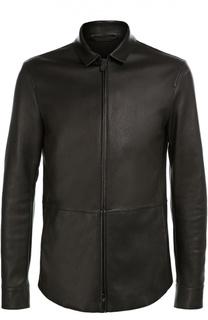 Кожаная куртка с отложным воротником Giorgio Armani