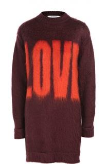 Удлиненный пуловер с круглым вырезом и контрастной надписью Givenchy