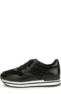 Комбинированные кроссовки на платформе Hogan