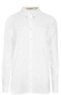 Хлопковая блуза прямого кроя с кружевной вставкой Burberry
