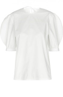 Хлопковая блуза А-силуэта с рукавом-фонариком на пряжках J.W. Anderson