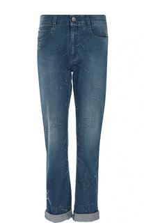 Укороченные джинсы прямого кроя с потертостями в виде звезд Stella McCartney