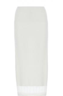 Кашемировая юбка-миди с полупрозрачной вставкой Victoria Beckham