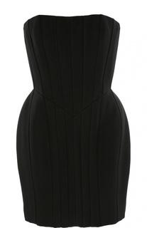 Приталенное платье-бюстье на молнии сзади Balmain