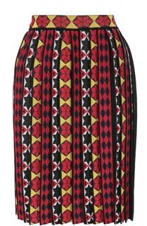 Плиссированная юбка-миди с ярким принтом Emilio Pucci